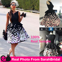 Wholesale 2016 Little Black Satin Evening Cocktail Dresses with Colorful D Appliques Flowers Short Knee Length A Line Ball Prom Gowns Custom Made