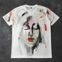 animal face t shirts - GVC Europe tide brand new women painting graffiti lovers face male and female short sleeved T shirt XL size S M L