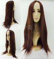 affordable women fashion - New brand fashion mac makeup straight long brownred cosplay wig for women ladie affordable hair kanekalon synthetic hair salomon