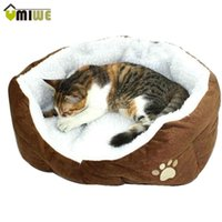 Wholesale Washable Soft Warm Paw Style Cat Dog Beds Nest Pad Mat Fleece Pets House Cat Puppy Dog Bed House With Cushion Mat