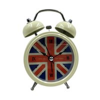 bell union - Fashion Desktop Clock Small Double Bell Night Light Kids Alarm Clock Reloj Despertador Vintage Alarm Clock Union Flag