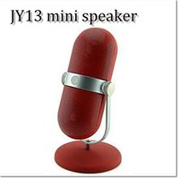 apple shaped mini speaker - Mini Microphone Shape Stand JY Pill Speaker Bluetooth Speaker TF Card And support AUX Lossless Playback Function Rechargeable Speaker