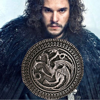 Wholesale 12pcs black gun alloy Game of Thrones House Targaryen badge round Three head Dragon emblem Insignia Brooch pins Corsage men xz013