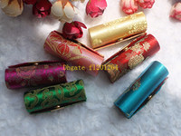 Wholesale 100pcs Retro New Lipstick Brocade Embroidered Flower Design Holder Box with Mirror Cosmetic Bags Multicolors Cases