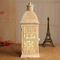 Wholesale White Color Candle Holder Weddings lantern Iron tealight Candle Holder wedding gift house decoration White
