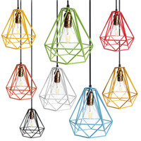 Wholesale Industrial Loft Style Multicolor Edison Modern Metal Wire Frame Ceiling Pendant Hanging Light Lamp Lampshade Cage Fixture