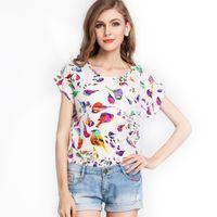 Wholesale New fashion Top Blouse Sheer Batwing Short Sleeve Loose Women Ladies Chiffon T Shirt top