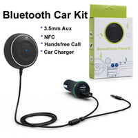 Wholesale JRBC01 Bluetooth Handsfree Car Kit with NFC Dual USB Port A Car Charger mm Aux Cable Music Player Wireless Mic for Android IOS Phone