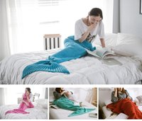 Wholesale Fashion Knitted Mermaid Blanket Super Soft Warmer Blanket Bed Sleeping Costume Air condition Knit Blanket Colors