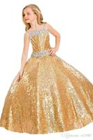 Wholesale sequins fabric shiny ball gown pageant girl dress