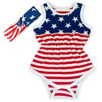 american flag material - Kids Rompers with American Flag Print Baby Outfit Romper Matching Headband Cotton Material O Neck Style Kids Clothing