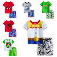 Wholesale 107 Styles Kids Boys Spiderman Superman Batman Suit T shirt Pants Children Summer Set Short Sleeve Tees Shorts Set Children Pajamas Sets