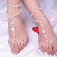 Cheap 2016 New hot Fashion Barefoot Sandal Bridal Beach Pearl Foot Jewelry Anklet Chain Ankle Bracelet 00CE