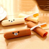 Wholesale Portable Toothbrush Box Cartoon Rilakkuma Bear Mini ABS ToothBrush Box Case Travel Tooth brush Holder Cover Bathroom Product