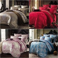 duvet cover - White Golden Jacquard Bedding Set Luxury pc Embroidered Lace duvet quilt cover queen king bed linen Satin bedclothes bed set home textile