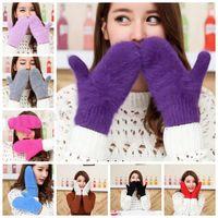 Wholesale Women Faux Rabbit Fur Gloves Faux Rabbit Fur Mittens Winter Fashion Mitten Knitted Fingerless Wrist Arm Hand Outdoor Gloves Accessories D223