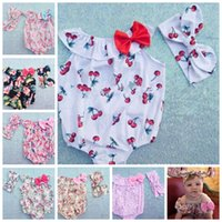 Cheap Baby Rompers Headbands set Toddler baby girls Clothing Set Cut summer Kids Jumpsuit baby crawling clothes baby romper KKA504