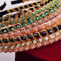 Wholesale 2016 PSC NEW vintage bohemian ethnic black rhinestone flower elastic headband wedding handmade hair accessories TS
