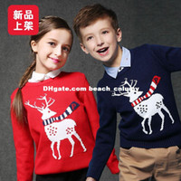 Wholesale DHL free New Year Christmas deer pullover sweaters Children Sweatshirt Autumn Winter Kids Clothes Boys Girls knit Print Sleeves Outwear