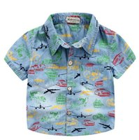 bicycle print fabric - Traffic tools baby shirts bicycle helicopter boat car printed soft handfeel fabric washed denim button style