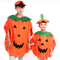 Wholesale Kids Children Adults Halloween Pumpkin Costume Hat Suit Cosplay Theme Uniform Cape Overalls Cap Party Clothing Props Drop Shipping WW0061