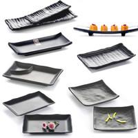 Wholesale Japan and South Korea style black melamine Sushi Platter thickened buffet restaurant hall Hot pot restaurant tableware style