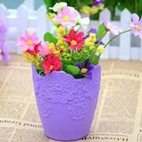 Wholesale 5pcs Home decoration Thicken flower pot Gardening Mini Plastic Vase With Tray Bonsai Planter Nursery Pots Garden Supplies