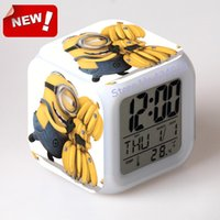 antique small clock - minion digital clock Despicable me despicable me around toy capsule small LED colorful multifunctional touch Alarm Clock Led Light