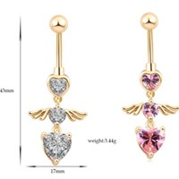 angels ceramics - Gold Plated Belly Button Rings Pink Zircon Heart Angel Wings Jewelry Navel Bar Body Piercing New Body Jewelry