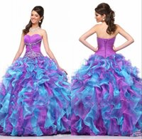 art deco heart - 2016 New Quinceanera Prom Dresses Pageant Sweet Party Gown With Sweet heart Pleats Blue Purple Organza Beads Crystals