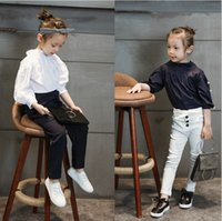 Wholesale Girls Blouses Spring Autumn New Style Children Clothing Turn Down Collar Girl Princess Shirts Child pearl Lace Shirt Tops T
