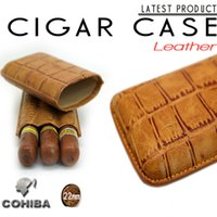 Wholesale Cohiba embossed leather humidors cigar case tube portable entertainment club customized hold cigars
