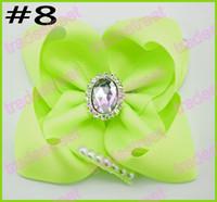 abc shipping - rhinestone boutique hair bows peal hair bow for girl big ABC hair bows