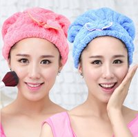 Wholesale South Korea magic dry hair cap times super absorbent dry coral velvet bow lazy essential dry hair towel