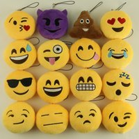 Wholesale QQ Key Chains Emoji Smiley Small Keychain Emotion CM QQ Expression Stuffed Plush Doll Toy yellow emoji expression mobile phone pendants