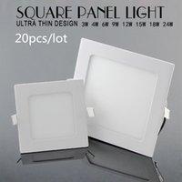 Wholesale 20pcs Ultra Thin w w w w w w w Square LED Ceiling Recessed Light AC85 V LED Panel Light SMD2835 LED Downlight