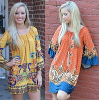 bell sleeved - Bohemian loose long sleeved print dress skirt