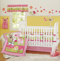 baby girl crib bedding sets - Baby girl bedding sets embroidery anima flowers Crib bedding set Baby Quilt Bed around Mattress Cover Bed skirt Cot bedding