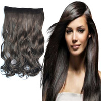 Wholesale Women Clips Hair Pieces Brown Black Synthetic Long Hair Weft Body Wave Hair Extensions g inch