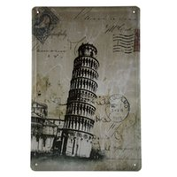 art postcard printing - Popular gift Tin Sign Postcards Leaning Tower of Pisa Metal Art Bar Bedroom Pub Home Decor Craft Wall Painting L3
