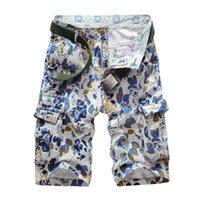 bermuda flowers - High Quality Men Cargo Shorts Summer Style Overalls Flower Printed Loose Sport Multi Pocket Basketball Bermuda Shorts Man