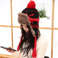 Wholesale Hat female winter lei feng cap onta hat northeast cap ear thermal thickening knitted hat