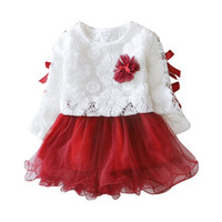 baby naturals white - Princess Flower Girl Dress Long Sleeve with Bow Cotton Tutu White Lace Girls Dresses Prom Dresses Toddler Baby Clothes Color