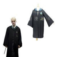 Wholesale Coser Movie Harry Potter Slytherin School Cosplay Costumes Halloween Role Draco Malfoy Magic Gown Robe Cloak Clothes