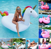 flamingo - Giant unicorn Inflatable Flamingo Ride On Pool Toy Float inflatable Swan Swim Ring Holiday Water Fun Pool Floating Row