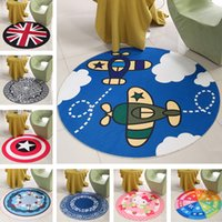Wholesale Carpets Home Textiles Children s cartoon printing blanket Upholstery carpet Coral velvet carpet floor mats round