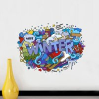 Wholesale Happy Winter Snow Season Illustration Landmark Wall Sticker Wedding Decor Waterproof Removable Vinyl Wallpaper Decal Holiday Decoration