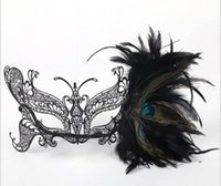 Wholesale Fashion foreign trade metal diamond masks black belt drill male and female masquerade half face iron feather masks