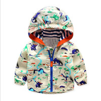 Wholesale 2016 Baby Boys Jackets Children Hooded Dinosaur Printed Boys Outerwear T Kids Windbreaker Spring Autumn Clothes