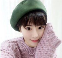 beach college - 2016 New college wind top Woolen painter Hat Men and Women Autumn and Winter solid color leisure beret warm
